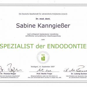 Zertifikat Spezialist der Endodontie