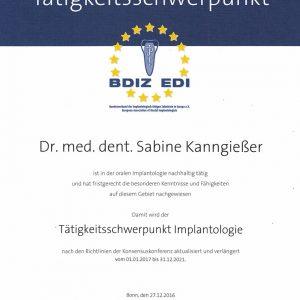 Zertifikat Tätigkeitsschwerpunkt Implantologie